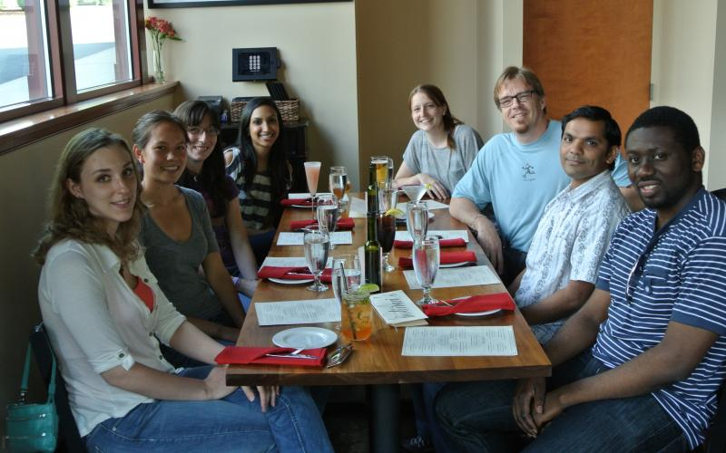 The Flowers group celebrates the end of the semester and successful dissertation defense of Dr. Kimberly Choquette