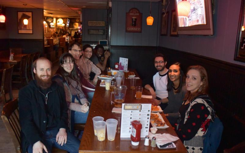 The group out to celebrate Dr. Niki Patel's successful defense.