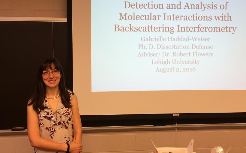 "Congrats to Dr. Haddad-Weiser for passing her defense entitled ""Detection and Analysis of Molecular Interactions with Backscattering Interferometry""!"